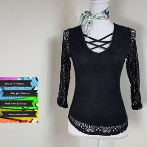 New! No Boundaries Black Lace Lined Top